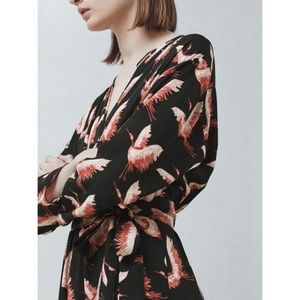 Mango Bird Print Wrap Dress